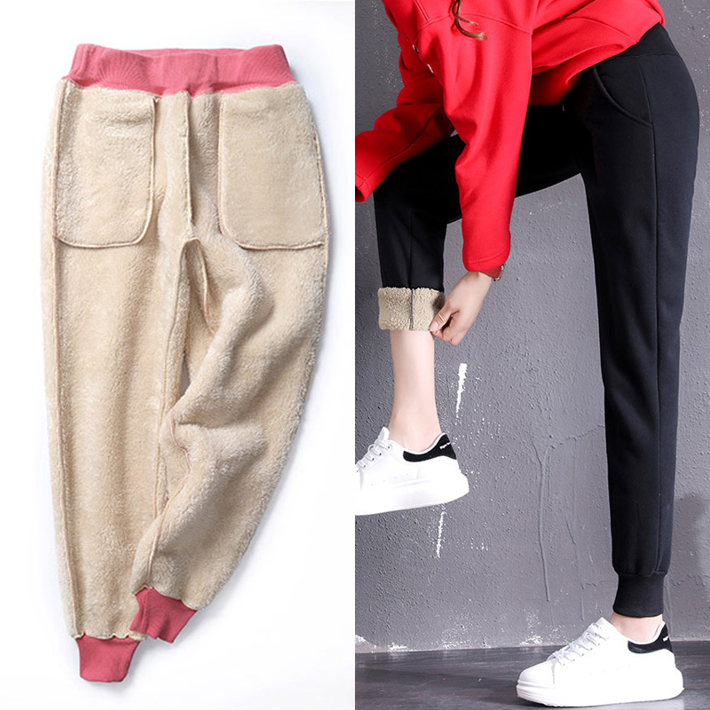 LOMAIYI Women's Winter Cashmere Harem Pants Women Warm Pashm Trousers Female Casual Sweatpants korean Joggers Women Pants BW025