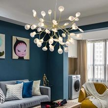 Nordic chandelier post modern creative firefly chandelier home living room study bedroom dining room lamp chandelier nordic chandelier creative magic bean personality post modern minimalist living room dining room bedroom milk white ball molecul