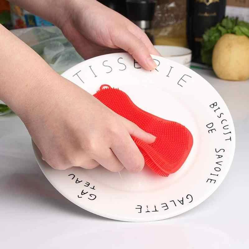 1/3/4pcs מטבח ניקוי מברשת סיליקון לשטיפת כלים מברשת סיר מחבת ספוג Scrubber פירות ירקות צלחת כביסה ניקוי מברשות