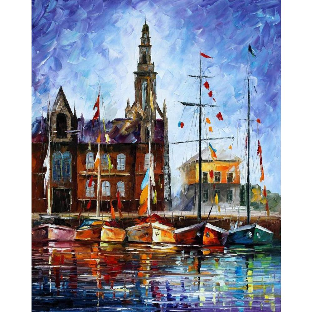 modern Landscape paintings <font><b>boats</b></font> palette <font><b>knife</b></font> oil painting On Canvas Hand painted High quality image