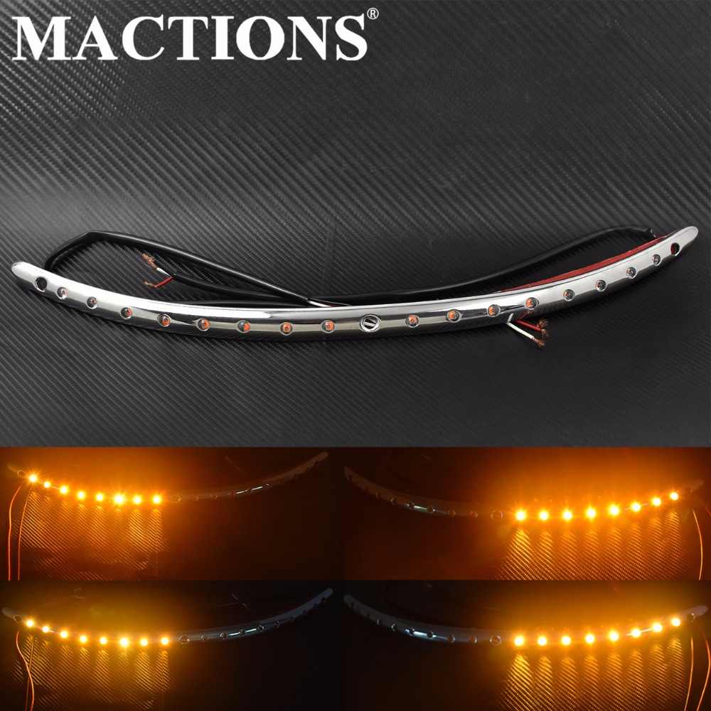 Motor Kaca Depan Trim Sinyal Giliran Lampu LED Chrome untuk Harley Touring Electra Glide Street Glide Ultra Terbatas 2014-2016 -18