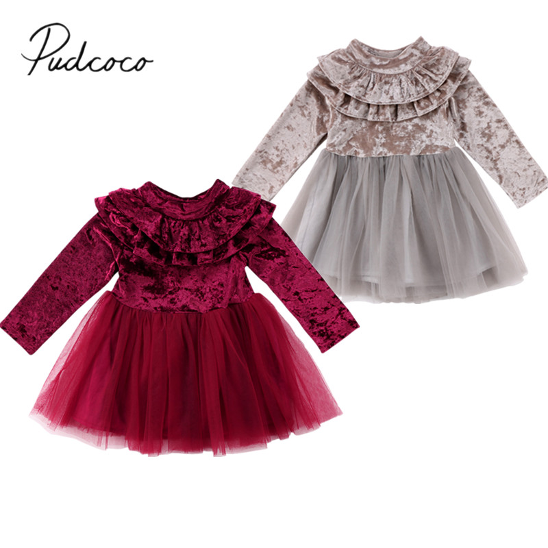 2018 Brand New Toddler Infant Pageant Kids Baby Girl Dress Velvet Fleece Birthday Party Dress Tulle Tutu Long Sleeve Dress 1-6T baby girl 1st birthday outfits short sleeve infant clothing sets lace romper dress headband shoe toddler tutu set baby s clothes