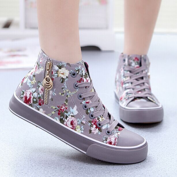e184f81a95 NEW Fashion high top sports sneakers women canvas shoes casual floral  women's gym sport shoes ladies running shoes,zapatos mujer-in Men's Casual  Shoes from ...