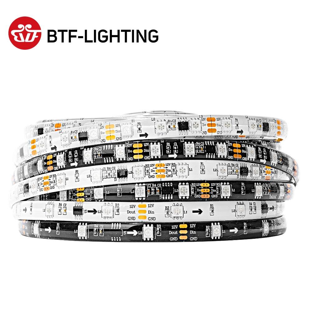 5M WS2811 LED Strip DC12V Ultra Bright Highly Efficient 5050 SMD RGB LEDs High Light Addressable 30/48/60leds/m White/Black PCB