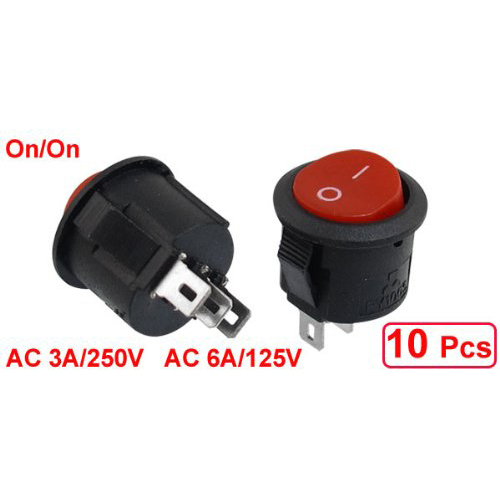 Promotion! 10 pcs SPDT Black Red Button On/On Round Rocker Switch AC 6A/125V 3A/250V 5 pcs ac 6a 250v 10a 125v 3 pin black button on on round boat rocker switch
