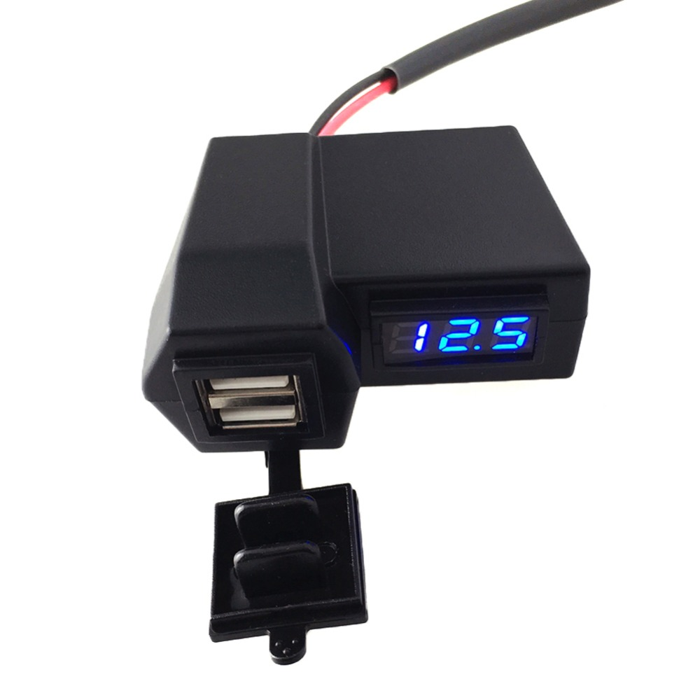 3.1A Car Motorcycle Voltmeter Thermometer Digital LED Auto Car USB Charger Temperature Meter Voltmeter High Quality ATV Parts 1pc 3 in 1 auto car usb charger 12v 24v temperature meter voltmeter digital led car voltmeter thermometer