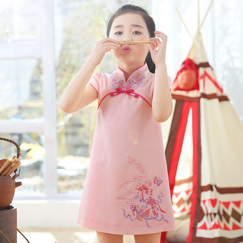 2017 autumn dress red plaid chinese style cheongsam princess wedding party dresses kids clothes pageant dress coat traditional chinese style qipao full sleeve cheongsam costume party dress quilted princess dress cotton kids clothing