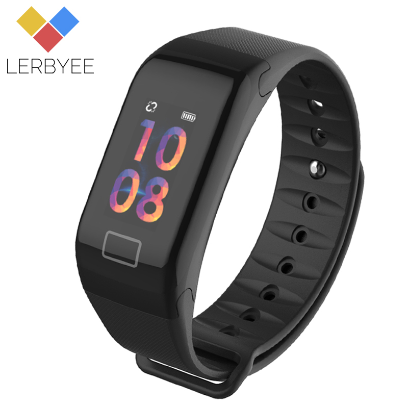 Lerbyee Color Screen F1S Fitness Tracker Blood Pressure Smart Bracelet Sleep Monitor Call Reminder Men Watch for iPhone 7 Huawei
