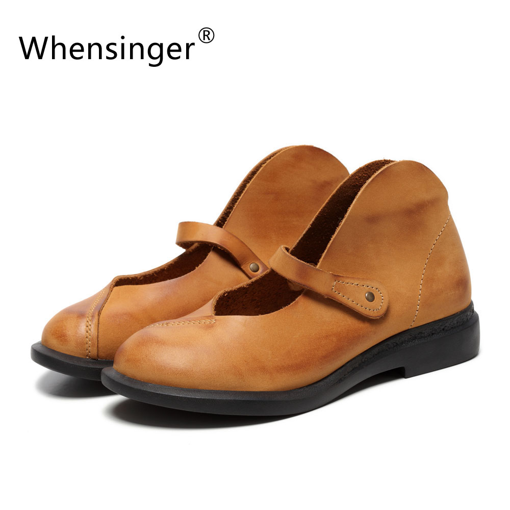 Whensinger - 2017 Woman Spring Summer Female Shoes Casual Solid Plain Round Toe Genuine Nubuck Leather Elegant Fashion 7888