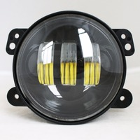 2pcs 4 Inch Round Led Fog Light Assembly 18W Projector Lens With Halo DRL Lamp For