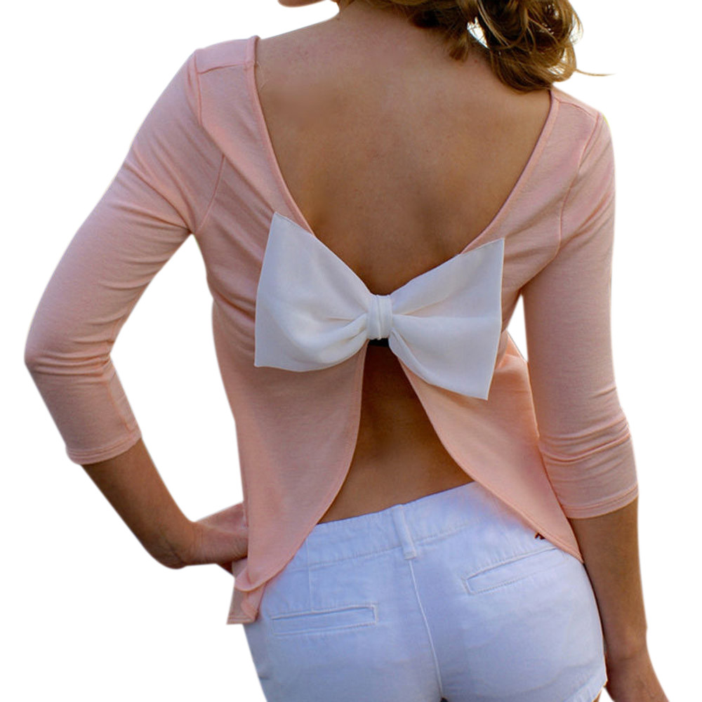 Blusas Camisa Casual Blusas Para Mujer Sin Respaldo Más tamaño Sólido de Tres Cu