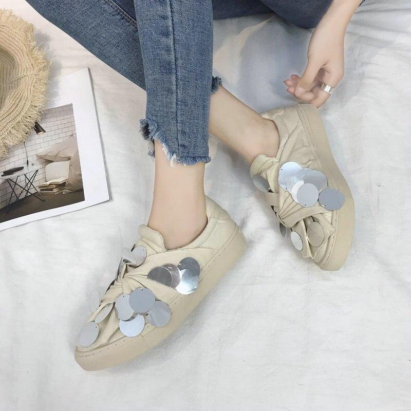 De Femme Grimpante jaune Printemps Beige Paillettes Femmes Glissent Mode Sport Luxe Appartements Chaussures Plante Toile Nouvelles Bling Sur 2019 qaRHwXOR
