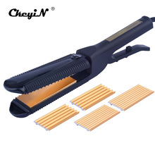 Big discount CkeyiN 3 in 1 Titanium Hair Straightener Iron Professional Flat Iron Corrugated Hair Plate Temperature Control Curling Hair Curl