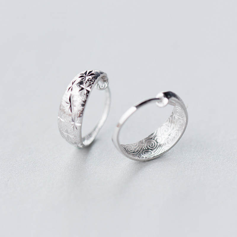 Ring In Kaars.925 Sterling Silver Sky Star Button Ears Sweet Female Temperament