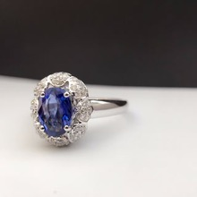 18K Gold Natural Sapphire Women Ring with Diamond Setting 2016 New Fine Jewelry Wedding Band Engagement (Can be customized)