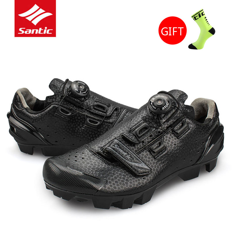 New Santic Men Breathable Cycling Shoes Ultralight Self Locking MTB Mountain Bike Shoes Athletic PU+TPR Riding Bicycle Shoes