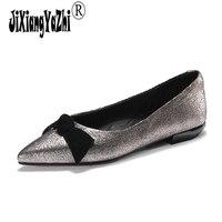 Jixiangyazhi 2018 الصيف المواد المختلطة واحدة وأشار أحذية المدببة الخام مع الفم الضحلة أحذية السيدات # C-039