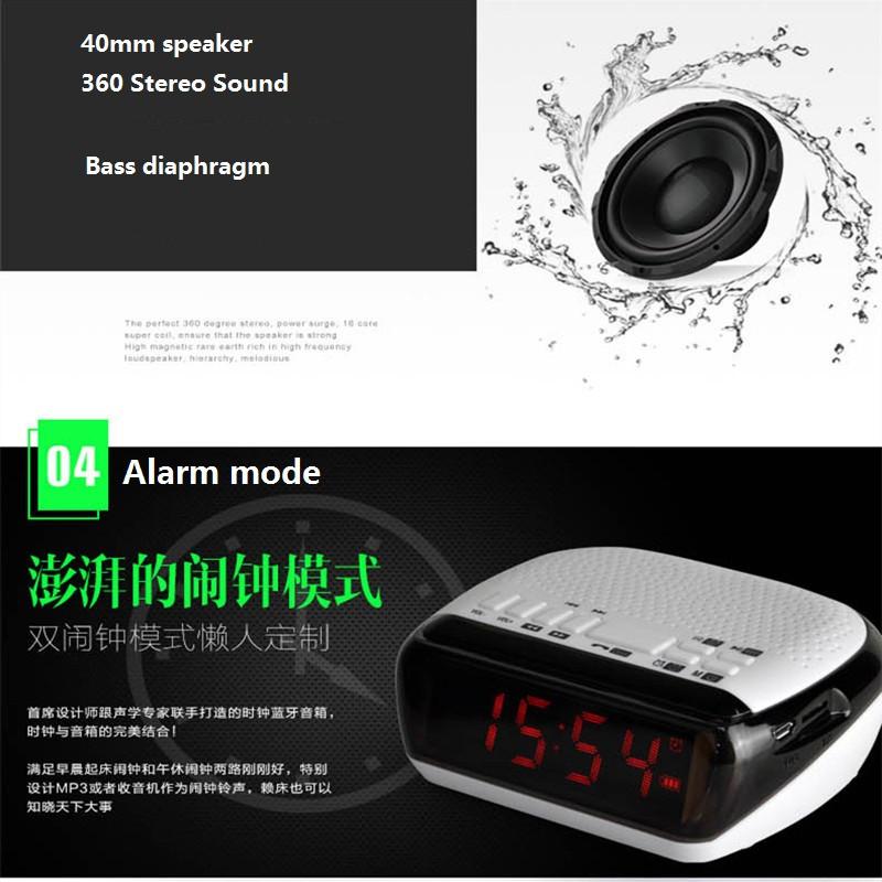 Mini Portable Dual Alarm Clock Bluetooth Stereo Speaker LCD Digital FM Radio Bluetooth Wireless Speaker Support TF For Computer (10)