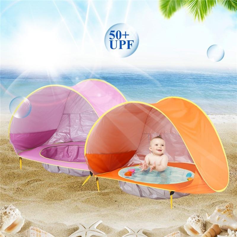 Sombrilla portátil para acampar Pes Tienda pop-up al aire libre Pop Up al aire libre Tienda de playa Protección UV para niños Bebé Refugio Sol Paraguas de playa Cabana automática al aire libre UPF 50 Mobiliario y materiales para educación temprana
