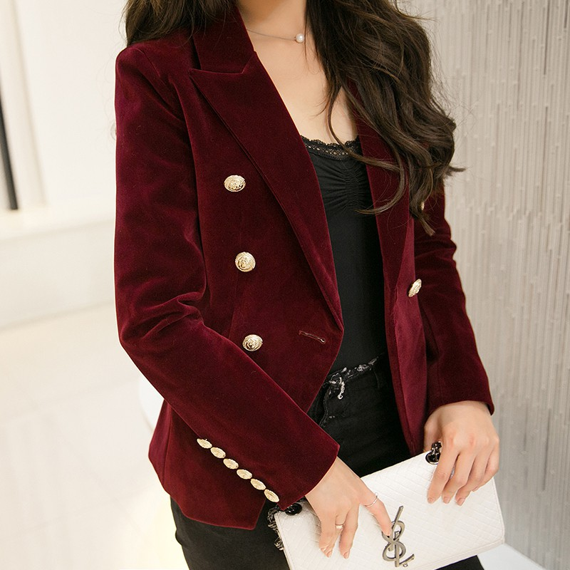 New Spring Fashion Women Midnight Navy Slim Velvet Blazer Jacket Double Breasted Simple Lady Blazers High Grade OL Clothing