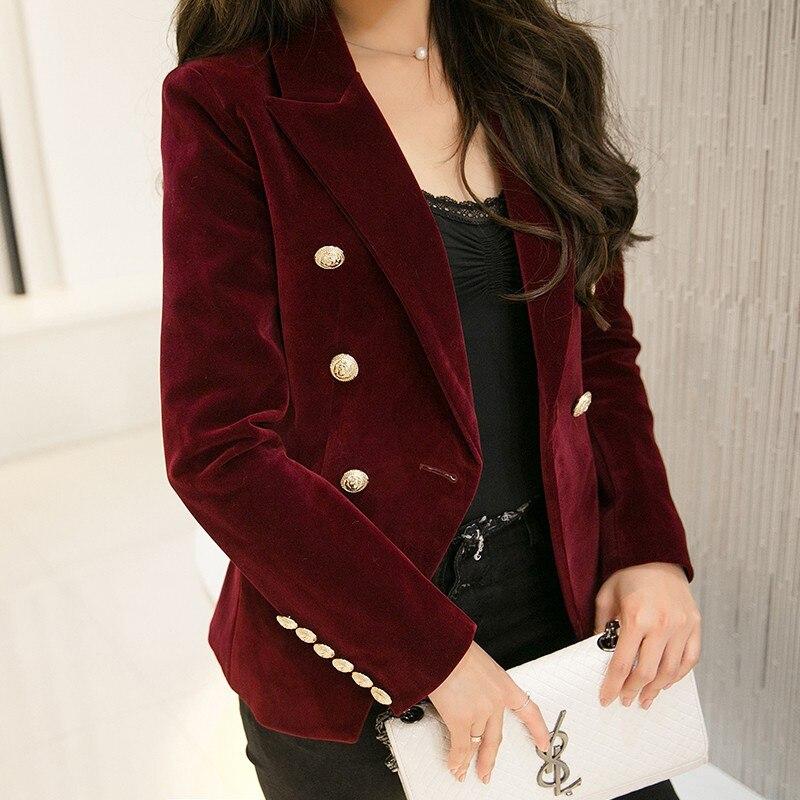 Nouveau Printemps Mode Femmes Minuit Marine Mince Velours Blazer Veste Double Boutonnage Simple Dame Blazers de Haute Qualité OL Vêtements