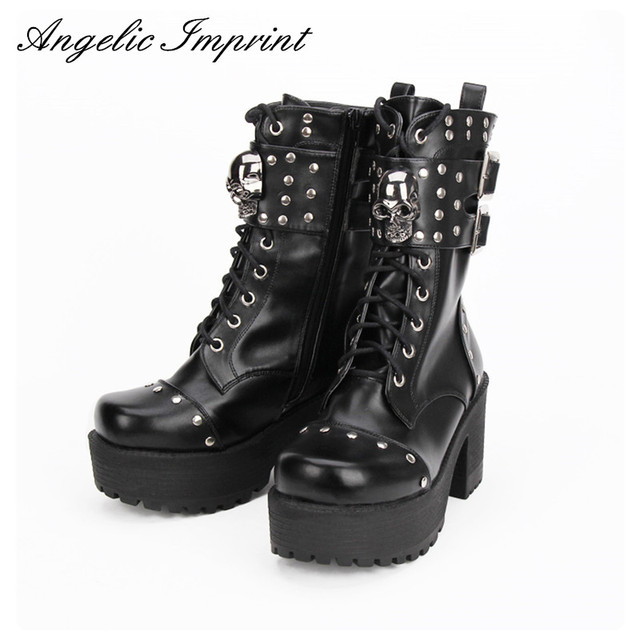 e821a01e9f7 Fashion Rivet Skull Gothic Punk Rock Lace-up Boots Block Heel Thick Platform  Punk Lolita Cosplay Boots