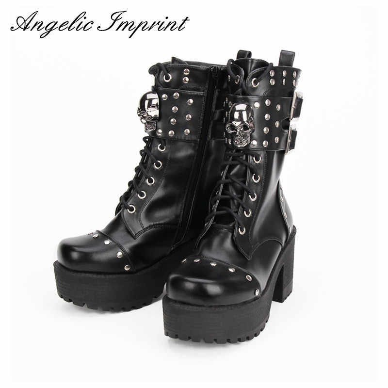 Đinh Tán Thời Trang Đầu Lâu Gothic PUNK ROCK Buộc Dây Giày Đế Thô Dày Nền Tảng Punk Lolita Cosplay Giày