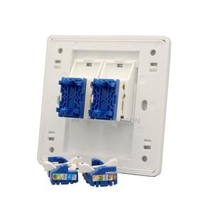 Image 2 - Dubbele Poorten Netwerk Panel CAT6 RJ45 Faceplate Draaien Draad Aansluiting Voor 1000 Mbps Internet Laptop Plug