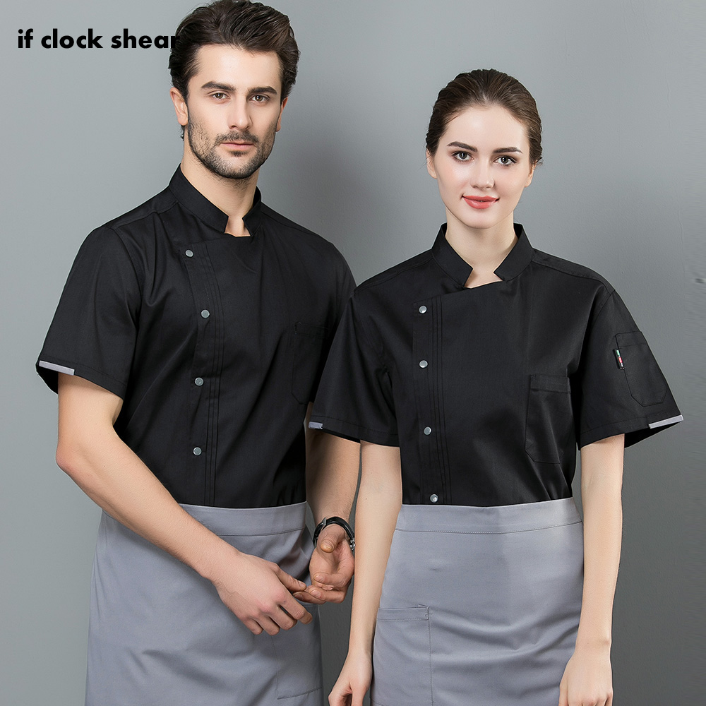 New Unisex Short Sleeved Restaurant Uniforms Shirts Hotel Kitchen Cooker Work Shirts Chef Jacket Food Service Work Clothes Men
