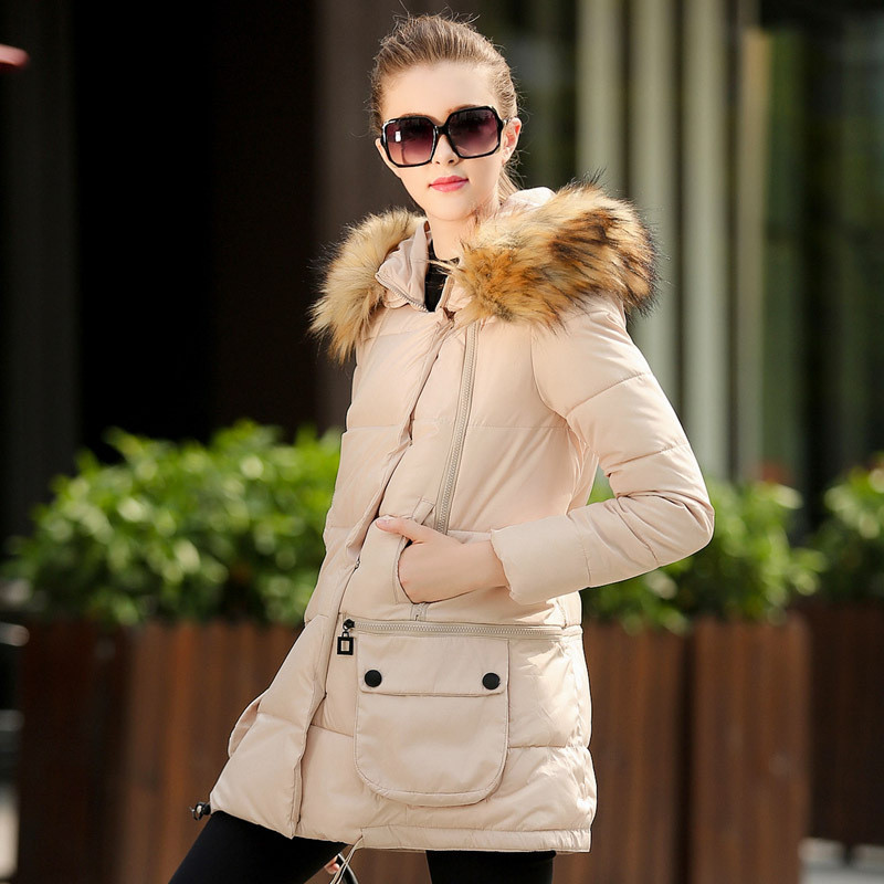 European Style Women's Down Padded Jacket New Winter Cotton Coat Female Hooded Women Down Wadded Coat Fur Collar Overcoat C1222 european station 2016 winter new simple casual hooded cotton self cultivation long section of thickened down padded coat