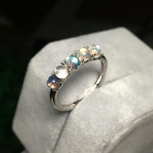 Image 2 - 925 סטרלינג כסף אפור קשת טבעת כחול ברדוריט אבן אופנה חצי יקר טבעי חן פתוח נצח טבעת לנשים
