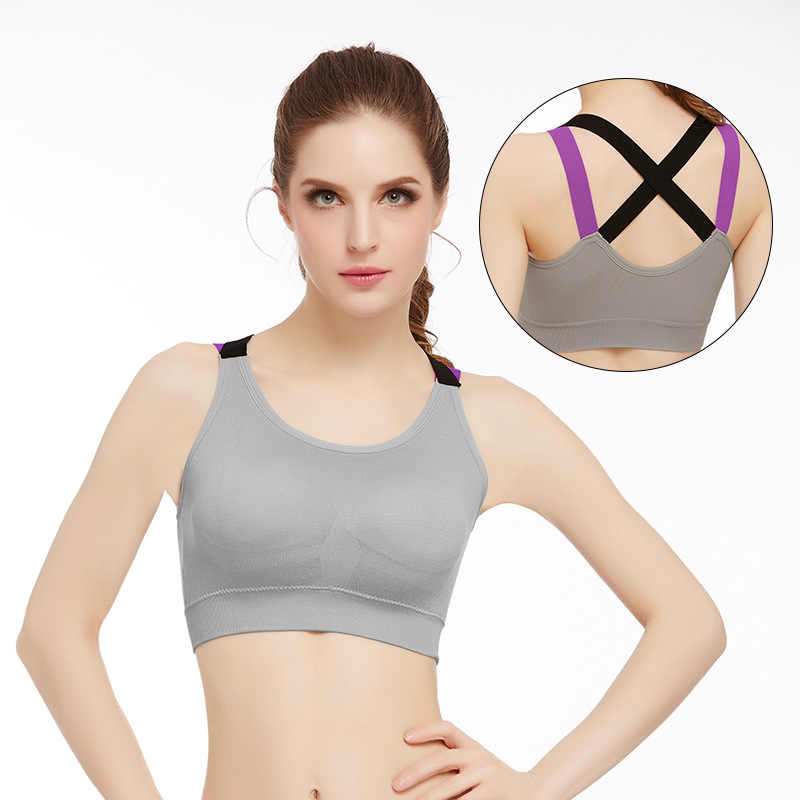 19f57cc129 ... Women Sexy Fitness Yoga Push Up Sports Bra Gym Running Padded  Professional Shockproof Quick Dry Tank ...