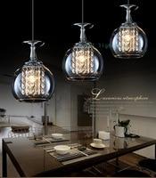 Bar 3 pcs glass cup lamp crystal pendant lights dining room led glass pendant lighting Simple led lamp bedroom coffee shop light