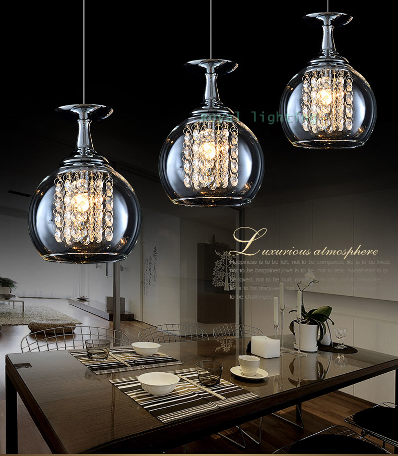 Bar 3 Pcs Glass Cup Lamp Crystal Pendant Lights Dining