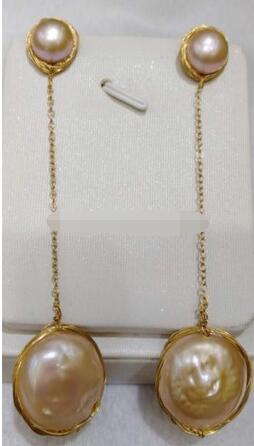 Venta caliente envío gratis> mano made13 14 mm Rosa barroco Mar del Sur perla pendientes largos 14 oro-in Pendientes de gotas from Joyería y accesorios    1
