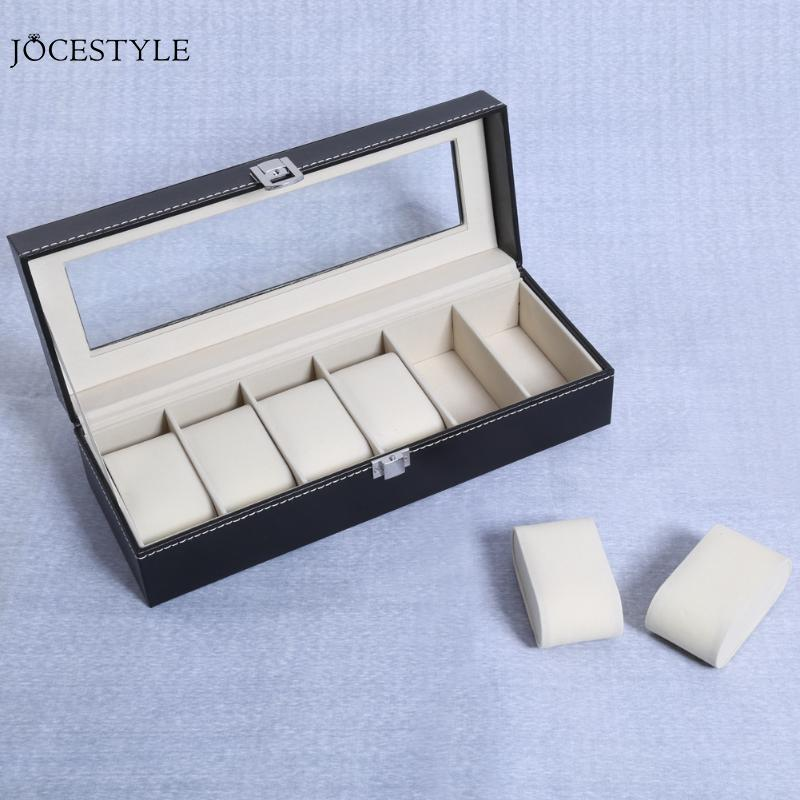 2/6/10 Grids PU Leather Watch Box Clock Watches Jewelry Storage Boxes For Professional Holder Organizer Case Display