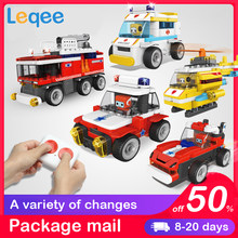 Children's building blocks Automobile assemblys toy Puzzle class remote control car fire truck and police boy car lego toys(China)