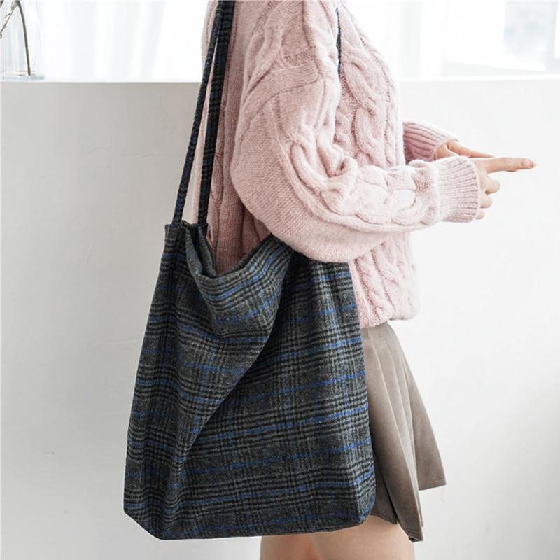 Plaid Handbag Totes Cloth Canvas Woolen Autumn Vintage Female Winter Women Ladies Cotton