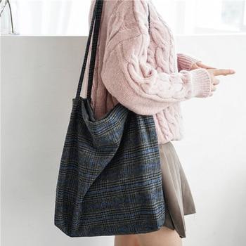 2018 Autumn & Winter Women Woolen Canvas Shoulder Bag Ladies Vintage Plaid Handbag Totes Female Cotton Wool Cloth Shopping Bags Shoulder Bags