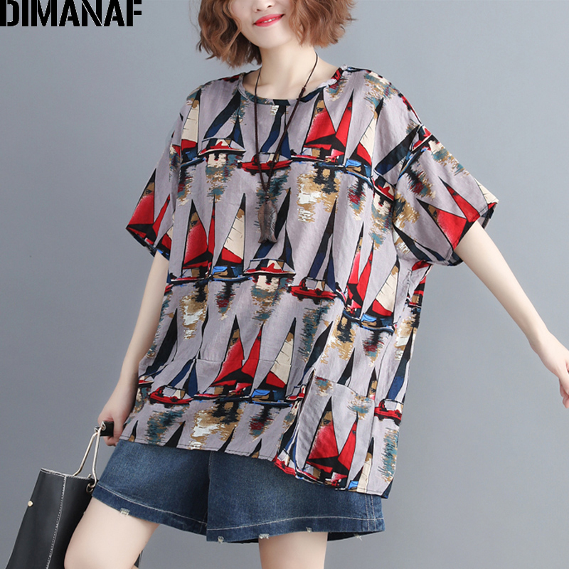 DIMANAF Plus Size Women T-Shirts Basic Lady Tunic Tops Fashion Print Tees Cotton Linen Female Clothes Big Size Loose 2019 Summer
