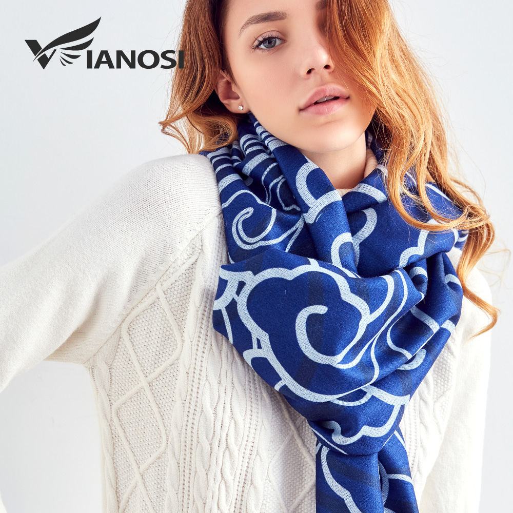 [VIANOSI] Blau Winter Wolle Schal Frauen Druck Schal und Schals Warme bandana frauen Luxus bufandas invierno mujer 2018