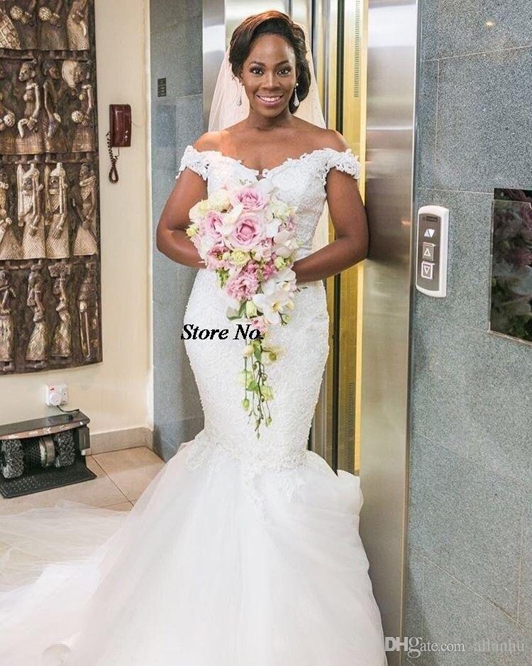 2017 Nigerian African New Mermaid Wedding Dresses Off Shoulder Lace ...