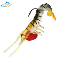 5pcs 5cm lead head soft shrimp luminous eyes 8 colors carft series with hook fishing baits