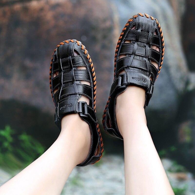 escorregar Chinelo 38 Dos Homens De Ao Não Moda Sandálias brown Diárias red Grande Black Flats Casuais Sapatos Ar Genuíno 47 Couro Livre Tamanho Interior Brown Da Rw8R6pqa