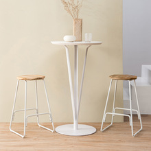 Metal Bar Stool Creative Iron Bar Chair Modern Concise Solid Wooden Top Stool Retro Stool 39x39x66.5cm