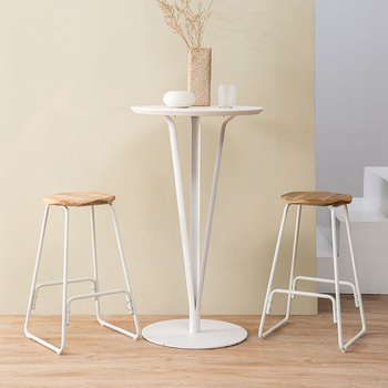 Metal Bar Stool Creative Iron Bar Chair Modern Concise Solid Wooden Top Stool Retro Stool 39x39x66.5cm