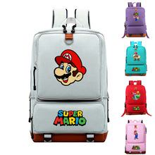 Dobrej jakości Super Mario Bros plecak kobiety męski plecak płócienny torba szkolna dla nastolatków studenci podróży plecak na laptopa tanie tanio Torby szkolne school bag 14cm 28cm 0 63kg Delune Cartoon Płótno Unisex nylon 43cm zipper