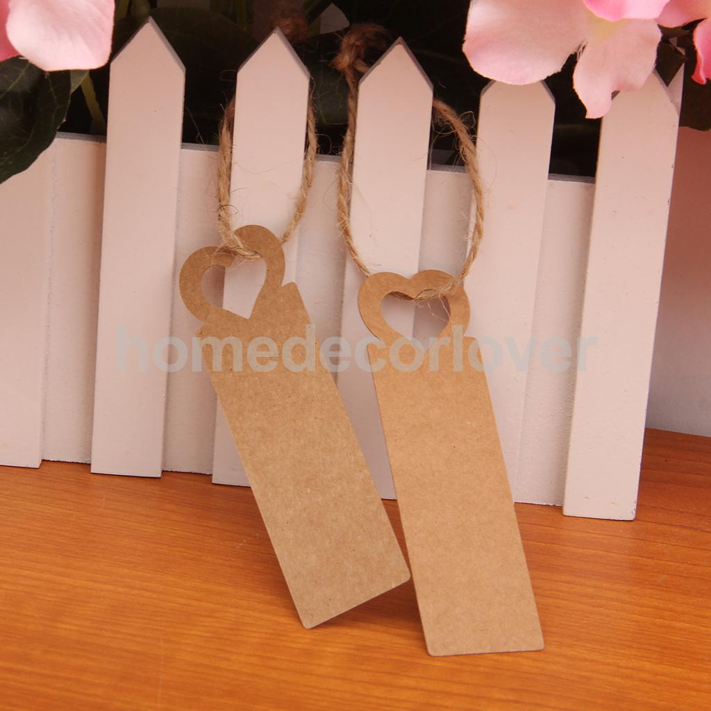100X Brown Kraft Paper Tags Heart Head Label Luggage Wedding Note +String DIY Blank price Hang tag Kraft Gift Hang tag