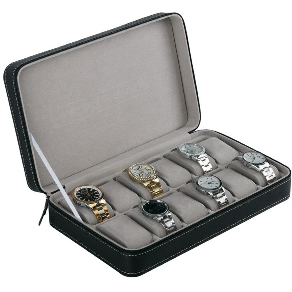 12 grilles multi-fonctionnelle Bracelet écrin de montre Portable montre boîte organisateur PU cuir cercueil avec fermeture à glissière