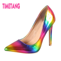 TIMETANG 2018 NEW Cool Gradient Color Matching Pointed Toe Woman High Heels Sexy Women Thin Heel Pumps Lady Shoes Size 33 45